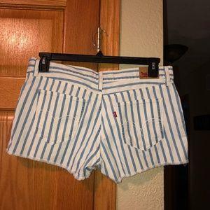 Levi's sz 9 White Striped Cut Off Jean Shorts